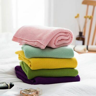 Winter Pure Color Organic Cotton Baby Blanket Kids Knit Casual Back Seat Covers