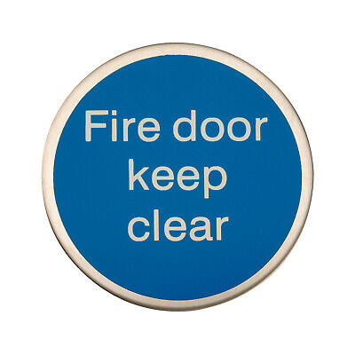 Round Adhesive Fire Door Keep Clear Sign – Sating Stainless Steel