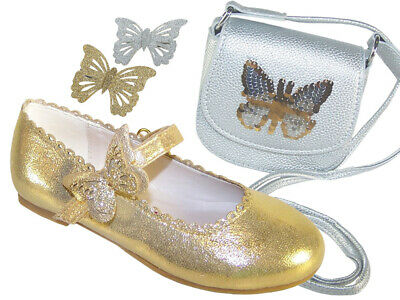 Girls Kids Childrens Gold Shimmer Sparkly Ballerina Flat Party Shoes Gift Set