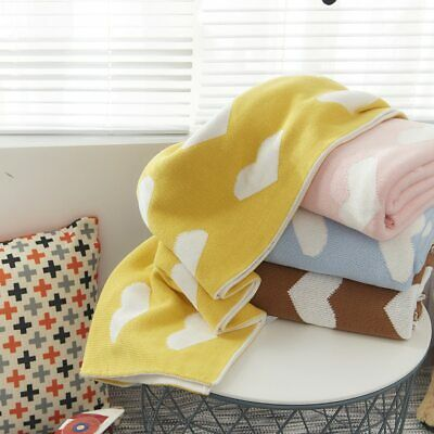 2 Layers Thick Heart Organic Cotton Baby Blanket Soft Knit Kids Back Seat Covers