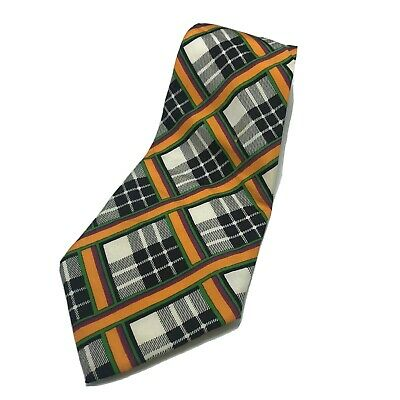 Yves Saint Laurent Men's Tie Plaid Striped 100% Silk Black
