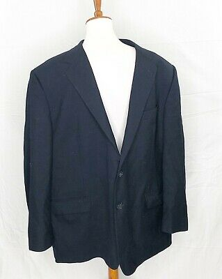 Joseph Abboud Collection Mens Blazer wool Blue Lined 2 button flap pockets 50R