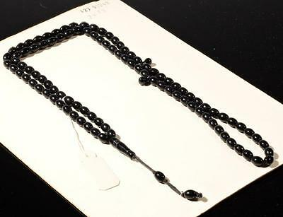 Vintage Czech 99 oval teardrop tube gloss black glass Islamic prayer bead strand