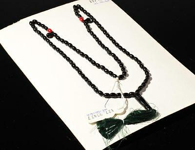 Vintage Czech 99 oval black red glass bead Islamic prayer bead strand