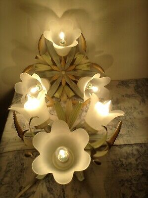 Pair French/Italian Style Tole Ceiling Lights - Toleware Lights Glass Shades