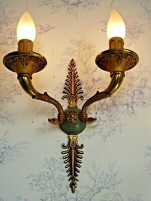 French Bronze Empire Style Double Wall Sconce With Swan Birds & Fern Leaves 1506