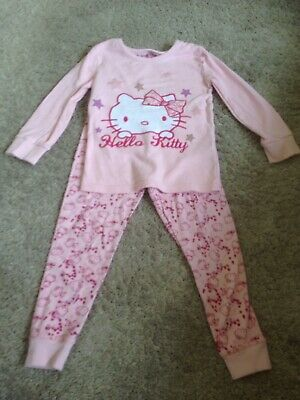 M & S Hello Kitty Long sleeved pink pyjamas Age 3-4 years Very Good condition