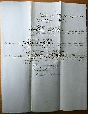 1844 Indenture of Lease and Mortgage 1845, Schedule of Deeds. Greenwich