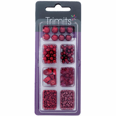 Creative Bead Kit Assorted Designs Shapes Red Jewellery Making Sewing Crafts