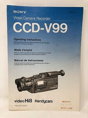Sony CCD-V99 Handycam Operating Instruction Owners User Manual