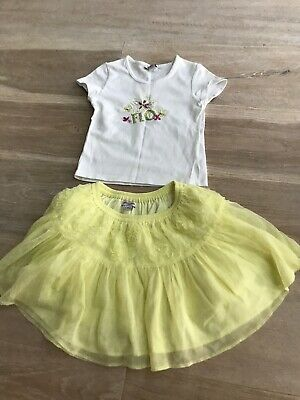 Girls Sequin Top With Yellow Tutu Party Skirt Age 4 NEW