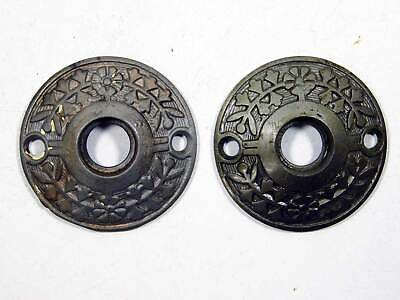 Two Matching Antique Rosettes Ornate Cast Iron Victorian 1875 - 1895