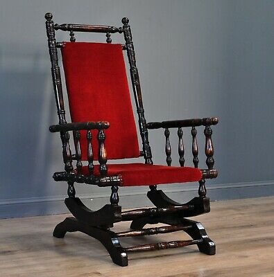 Attractive Antique Victorian Mahogany Upholstered Rocking Chair