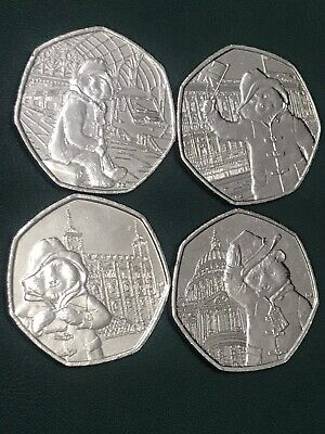Paddington Bear 50p COMPLETE SET Of All 4 Coins Circulated Brilliant Condition.