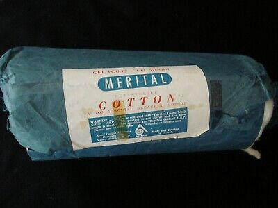 Vtg Merital 100% Bleached COTTON ROLL Non-Sterile/Surgical Doctor Hospital Prop