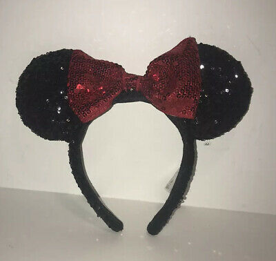 Authentic Disney Parks Minnie Mouse Ears Hat Headband Black Red Sequin Bow - LN
