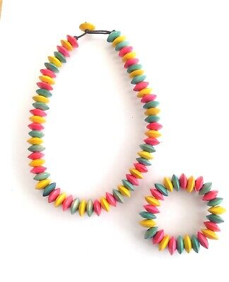 Bright multi coloured sweetie candy bead necklace and bracelet set