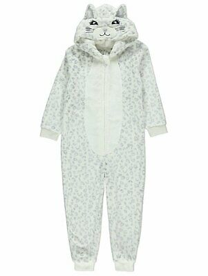 Girls White Snow Leopard One Piece - Grey Hooded Pyjamas - Age 12-13 Years