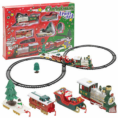Christmas Train Set Track Musical Sound Lights Around Tree Decoration Santa 22Pc