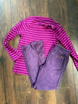 Tea Collection Girls Outfit 8 Striped Bow Top Tee Velvet Velour Leggings Purple