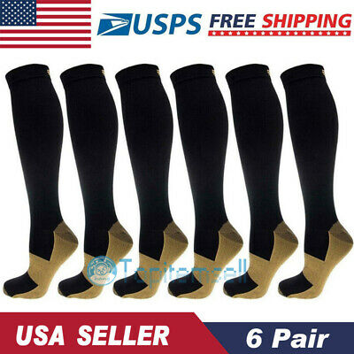Copper Infused Compression Support Socks 20-30mmHg Graduated Unisex 6Pairs S-XXL