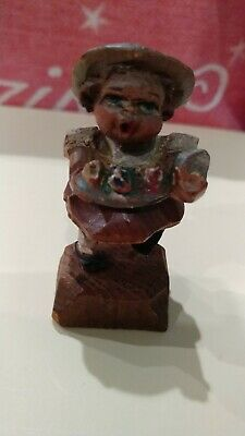 Vintage ANRI WOOD CARVING Italy GIRL WITH FLOWERS Folk Art