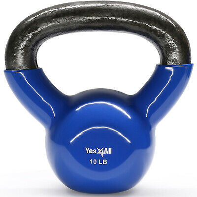 Yes4All Vinyl Coated Cast Iron Kettlebells 10 lbs for Strength Training