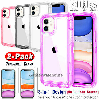 For iPhone 11 Pro Max XR XS Crystal Clear Case Cover With Glass Screen Protector