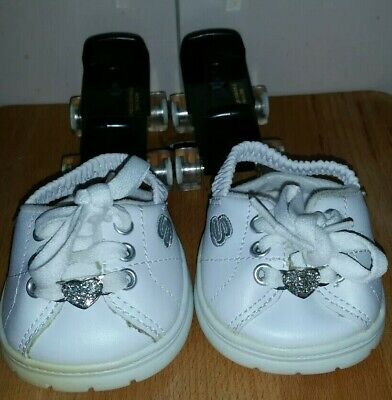 Build a Bear Sketchers Runners Shoes - White & Silver - plus ROLLER SKATES !