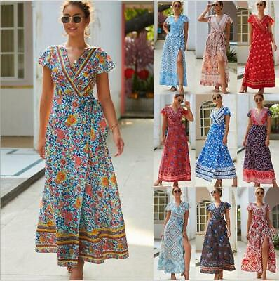 Cocktail Party Dress Summer Boho Long Floral Beach Evening Maxi Women's Sundress
