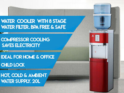 Water Cooler Dispenser 8 Stage Water Filter Purifier Floor Standing RED 20L SAFE