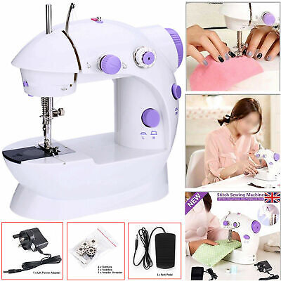 Adjustable LED Electric Mini Sewing Machine Portable 2Speed Foot Pedal Hand-Held