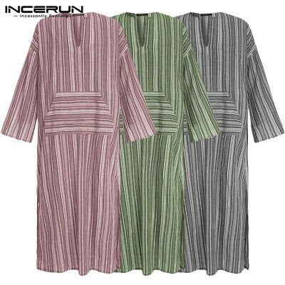 INCERUN Mens Jubba Kaftan Dishdash Thobe Arab Robe Islamic Saudi Pocket Robe Top