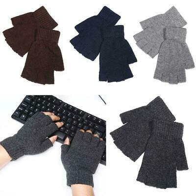 Men Faux Wool Knitted Half Finger Gloves Stretchy Winter Warm Fingerless Mittens