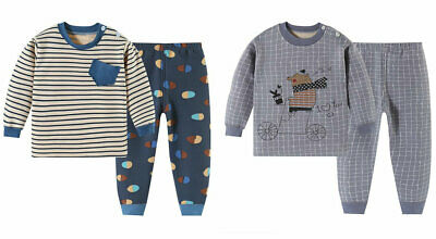 Kids boys fleece warm thick thermal underwear boys pajamas tops+ pants outfits