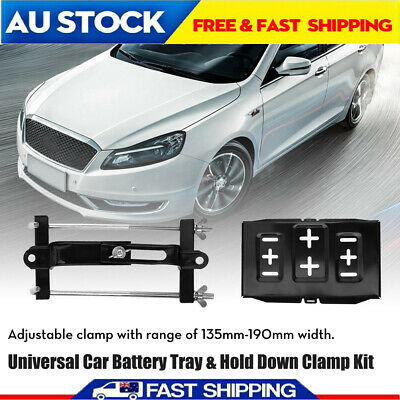 Universal Metal Car Battery Tray Hold Down Clamp Kit 135-190mm Adjustable New