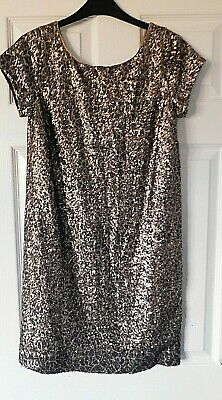NEXT Black & Gold Sequin Crew Neck Tunic Party Occasion Dress Size UK 6