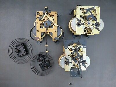 Job lot of 3 Vintage wall clock movements & 2 chimes for repair or parts