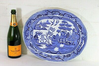 Large Antique English Blue & White Willow Pattern Meat Platter 16 x 12¾ Inches