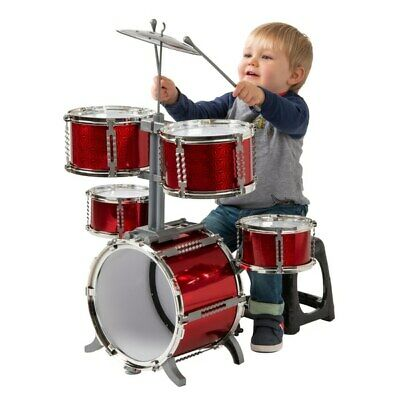 Musical Red Drum Kit Kids Toy Set Instrument Toys Christmas Gift Play Children 3