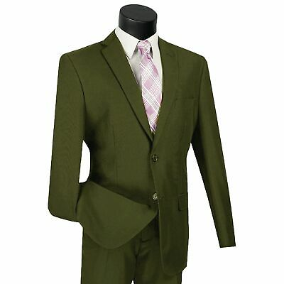 LUCCI Men's Olive Green 2 Button Classic Fit Poplin Polyester Suit NEW