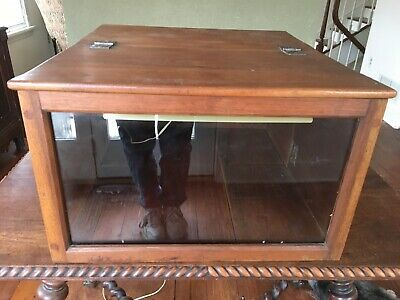 Antique Wood Flip Top Lighted Display Case - Doweled With Wood Pins