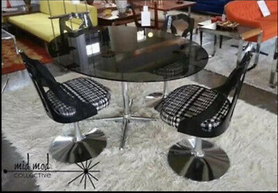 VTG MCM Space Age Chromcraft Dining Table Chairs Smoked Glass Lucite Eames Era
