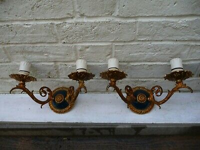 Vintage X4 Gilt Brass Twin Wall Lights Sconces Rococo Baroque Great Detailing