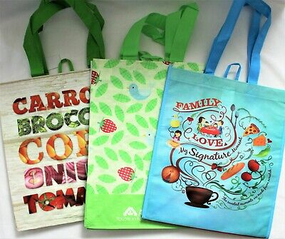 Reusable Tote 3 Grocery Shopping Bags Family Love Strawberries Vegetables