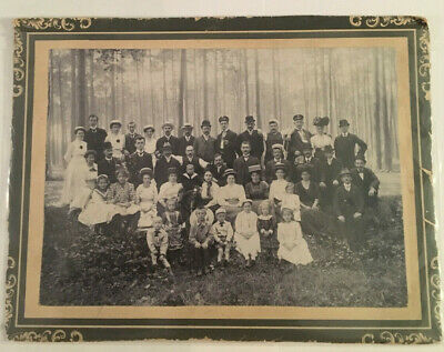 Neat Vintage Cabinet Photo Portrait of Family in Suits Dresses & Hats #4156