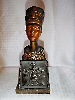 "MID Century Antique Egyptian SOLID Bronze Nefertiti Statue 8"" TALL"