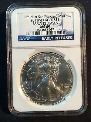 2011 S Silver American Eagle NGC MS 69, Early Releases.