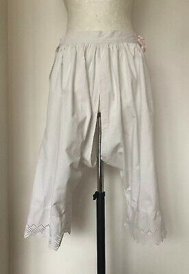 Vintage French Handmade White Cotton Split Knickers Drawers Bloomers