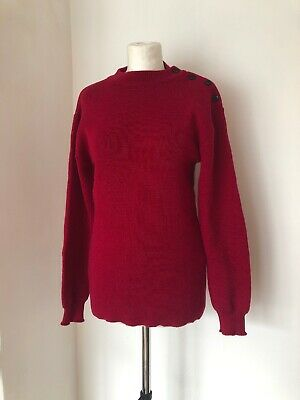 Vintage French Saint James Wool Jumper Red with Black Buttons